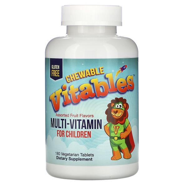 Vitables, Suplemento multivitamínico para niños, Sabores frutales surtidos, 180comprimidos vegetales