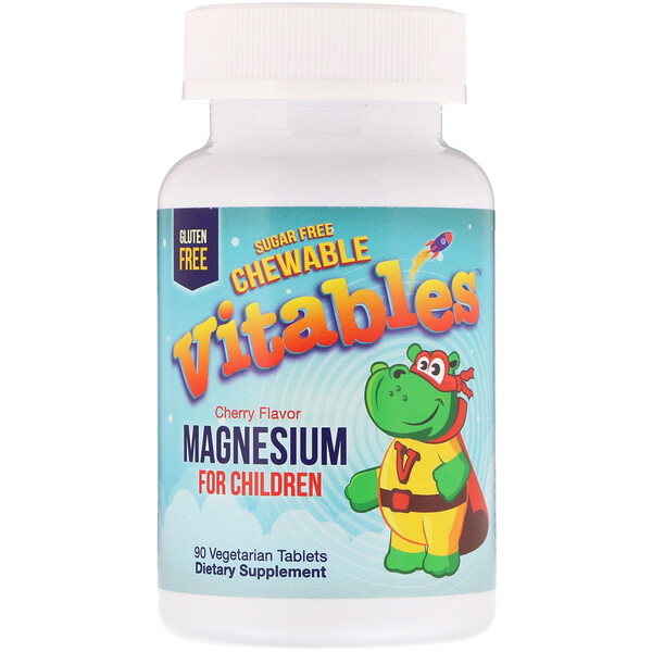Vitables, Magnesium Chewables for Children, Sugar Free, Cherry, 90 Vegetarian Tablets