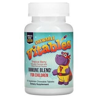 Vitables, Immune Blend Chewables for Children, Immunkraft-Kautabletten für Kinder, Tropischer Beerengeschmack, 90vegetarische Kautabletten