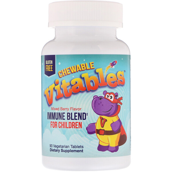 Vitables, Immune Blend Chewables for Children, Mixed Berry, 90 Vegetarian Tablets