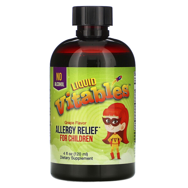 Vitables, Liquid Allergy Relief For Children, No Alcohol, Grape Flavor, 4 fl oz (120 ml)