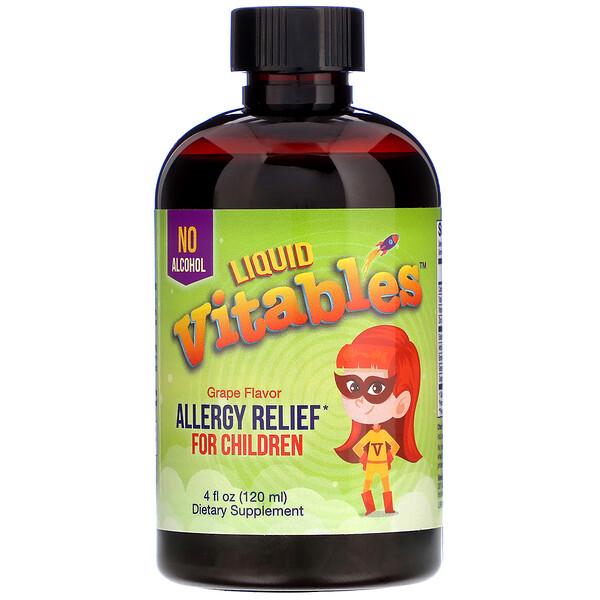 Vitables, Liquid Allergy Relief For Children, No Alcohol, Grape Flavor, 4 fl oz (120 ml)