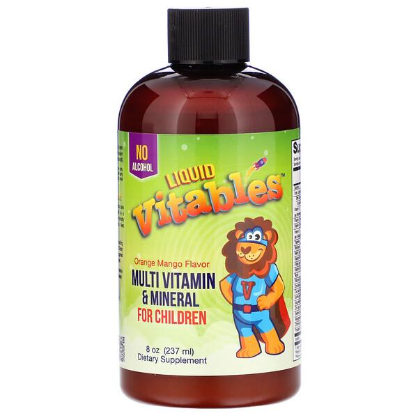 Vitables, Liquid Multi-Vitamin & Mineral For Children, No Alcohol, Orange Mango Flavor, 8 fl oz (237 ml)