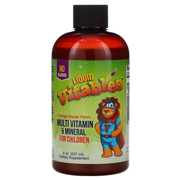 Liquid Multi-Vitamin & Mineral For Children, No Alcohol, Orange Mango Flavor, 8 fl oz (237 ml)