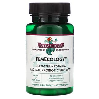 Vitanica, FemEcology, Vaginal Probiotic Support, 10 Billion CFU, 30 Vegan Caps