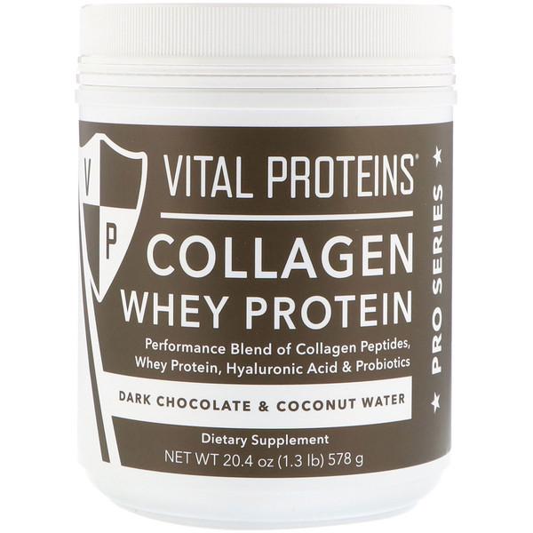 Vital Proteins, Collagen Whey Protein, Dark Chocolate & Coconut Water, 20.4 oz (578 g) (Discontinued Item)