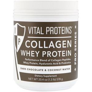 Витал Потеинс, Collagen Whey Protein, Dark Chocolate & Coconut Water, 20.4 oz (578 g) отзывы
