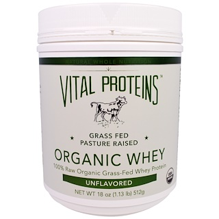 Vital Proteins, Organic Whey Protein, Pure & Unflavored, 18 oz (512 g)