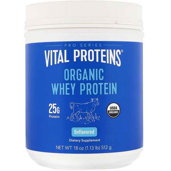 Vital Proteins, Organic Whey Protein, Unflavored, 1.1 lbs (512 g) (Discontinued Item)