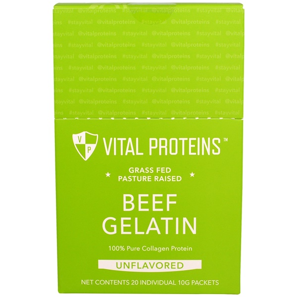 Vital Proteins, Grass Fed Pasture Raised, Beef Gelatin, Unflavored, 20 Individual Packets, (10 g) Each (Discontinued Item)