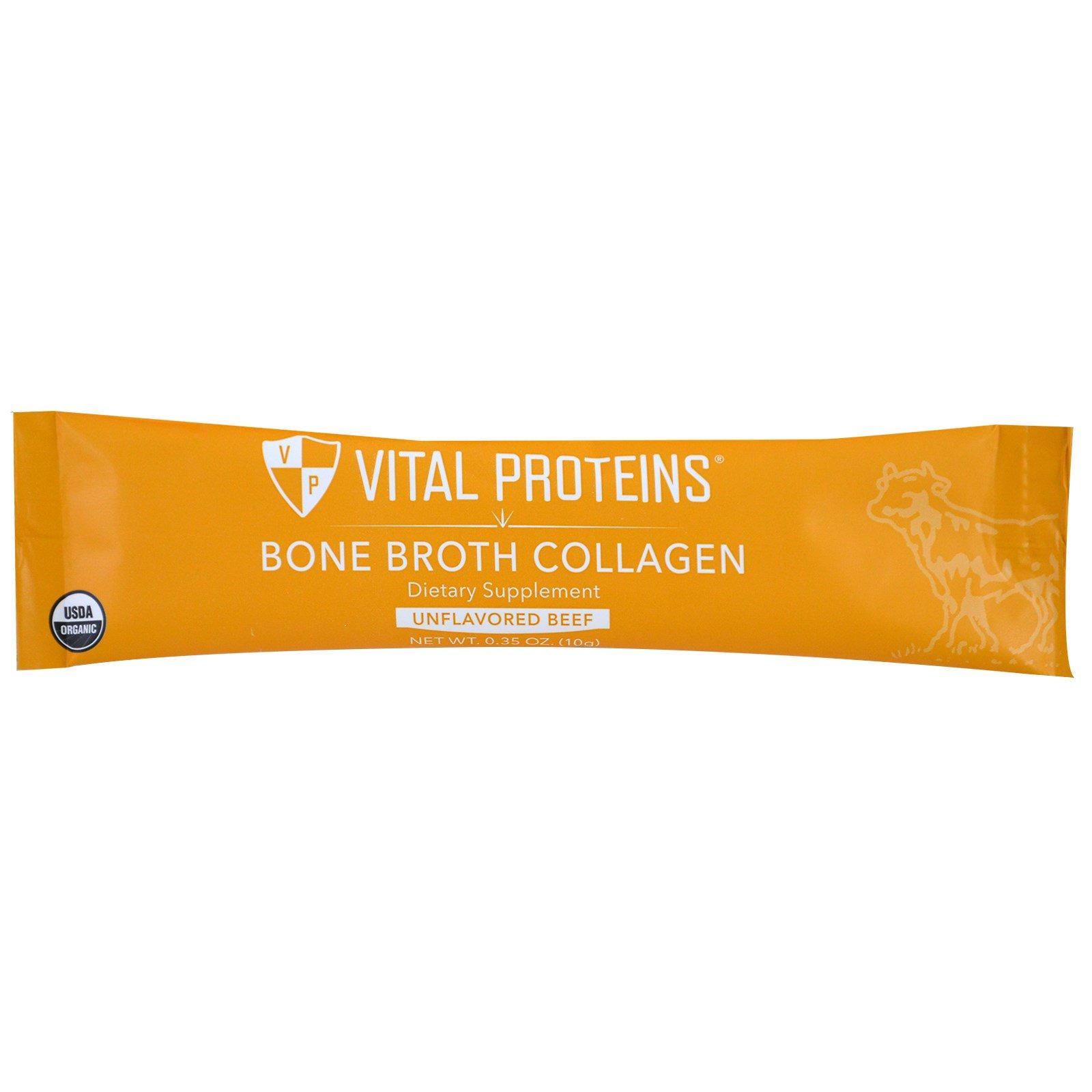 Vital proteins p turages bio bouillon d 39 os collag ne b uf nature 20 sachets oz 10 g - Bouillon d os ...
