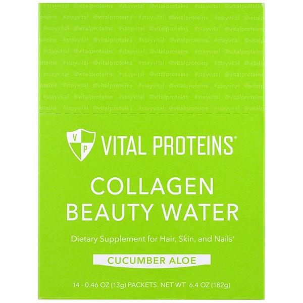Vital Proteins, مياه الكولاجين للجمال، صبّار الخيار، 14 مغلف، 0.46 أوقية (13 غم)