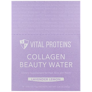 Vital Proteins, 콜라겐 뷰티 워터, 라벤더 레몬, 14 패킷, 각 0.46 oz (13 g)