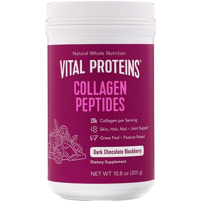 Vital Proteins Пептиды коллагена, черный шоколад и ежевика, 305г (10, 8унции)  - купить со скидкой