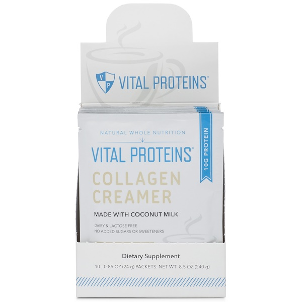 Vital Proteins, Collagen Creamer, Coconut, 10 Packets, 0.85 oz (24 g) Each (Discontinued Item)