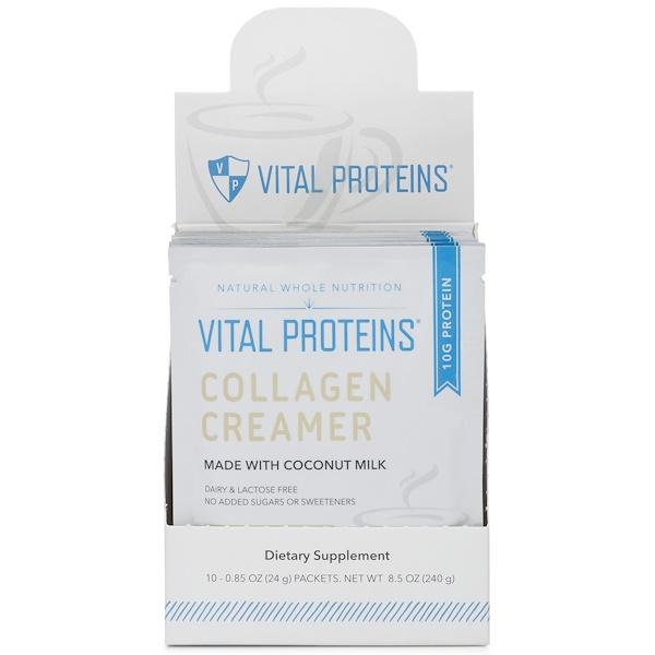 Vital Proteins, Сливки с коллагеном, Кокос, 10 пакетов, 0,85 унц. (24 г) в каждом (Discontinued Item)