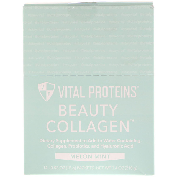 Vital Proteins, Beauty Collagen, Melon Mint, 14 Packets, 0.56 oz (16 g) Each (Discontinued Item)