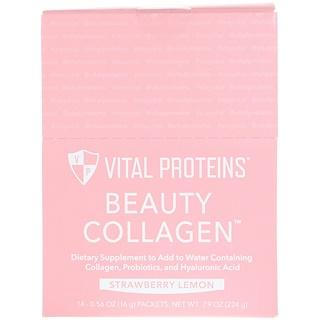 Vital Proteins, ビューティーコラーゲン、ストロベリーレモン、14パケット、各0.56オンス (16 g)