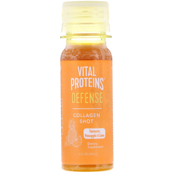 Vital Proteins, Collagen Shot, Defense, Turmeric, Pineapple & Lime, 2 fl oz (59 ml) (Discontinued Item)