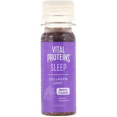 Vital Proteins, Collagen Shot,睡眠,藍莓和薰衣花草,2 液量盎司(59 毫升)
