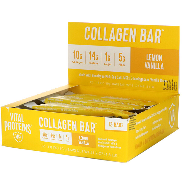 Vital Proteins, Collagen Bar, Lemon Vanilla, 12 Bars, 1.8 oz (50 g) Each