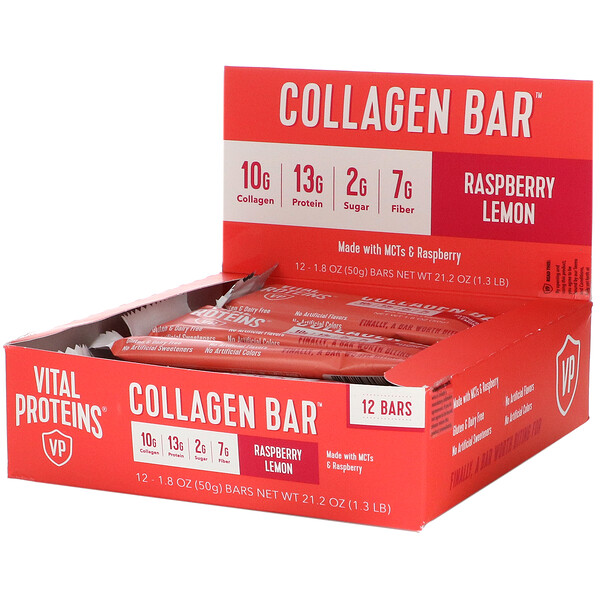 Collagen Bar, Raspberry Lemon, 12 Bars, 1.8 oz (50 g) Each