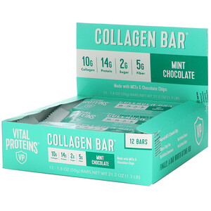 Vital Proteins, Collagen Bar, Mint Chocolate, 12 Bars, 1.8 oz (50 g) Each