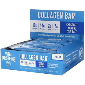 Vital Proteins, Collagen Bar, Chocolate Almond Sea Salt, 12 Bars, 1.8 oz (50 g) Each'