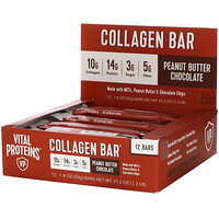 Vital Proteins, Collagen Bar, Peanut Butter Chocolate, 12 bars, 1.8 oz (50 g) Each