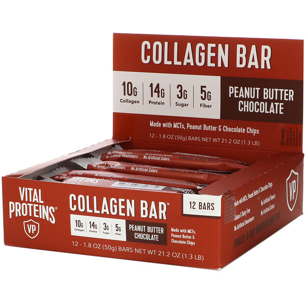 Collagen Bar, Peanut Butter Chocolate, 12 bars, 1.8 oz (50 g) Each