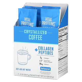 Vital Proteins, Crystallized Coffee + Collagen Peptides, Unflavored, 7 Packets, 0.32 oz (9 g) Each