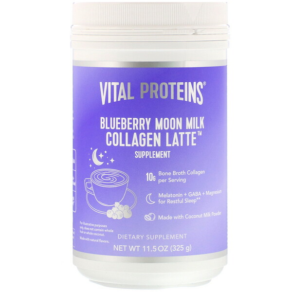 Vital Proteins, Collagen Latte, Blueberry Moon Milk, 11.5 oz (325 g)