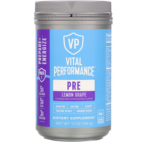 Vital Performance, Pre, Lemon Grape,  13 oz (369 g)