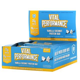 Vital Proteins, Vital Performance 蛋白棒,香草椰子味,12 根,每根 1.94 盎司(55 克)