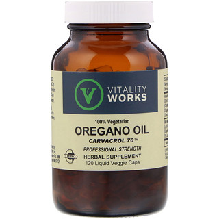 Vitality Works, Oregano Oil, Carvacrol 70, 120 Liquid Veggie Caps
