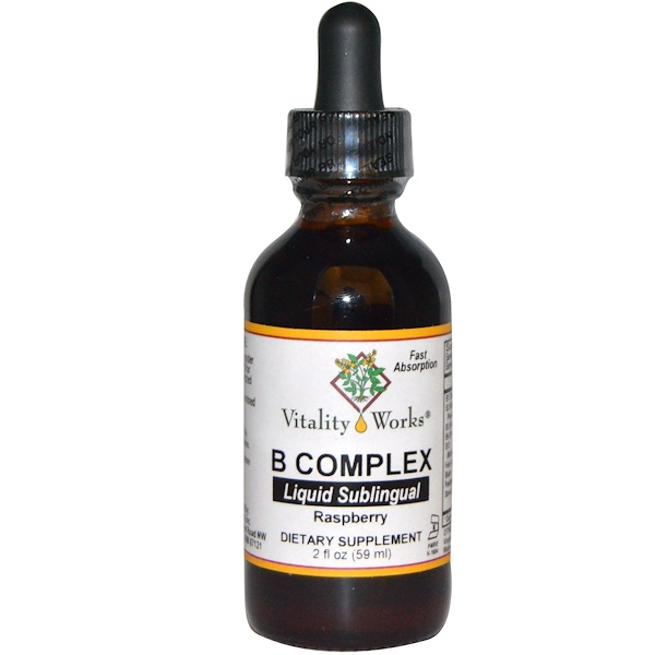 Vitality Works, B Complex, Liquid Sublingual, Raspberry, 2 fl oz (59 ml) (Discontinued Item)