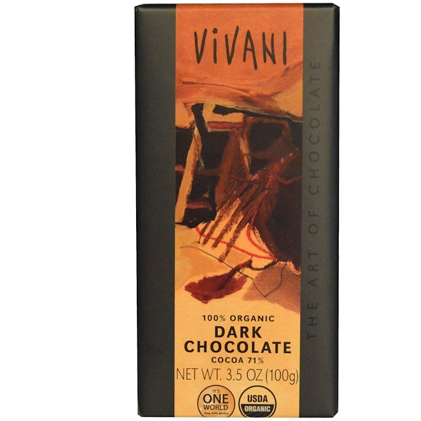 Vivani, 100% Organic Dark Chocolate, Cocoa 71%, 3.5 oz (100 g) (Discontinued Item)