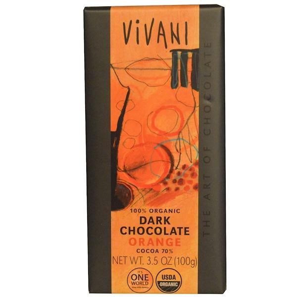 Vivani, 100% органический черный шоколад, апельсиновый, 3,5 унции (100 г)