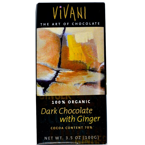 Vivani, 100% Organic Dark Chocolate with Ginger, 3.5 oz (100 g) (Discontinued Item)