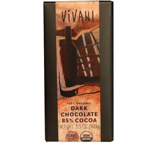 Vivani, 100% органический черный шоколад, 85% какао, 3.5 унций (100 г) (Discontinued Item)