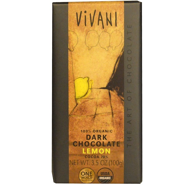 Vivani, 100% Organic Dark Chocolate, Lemon, 3.5 oz (100 g) (Discontinued Item)