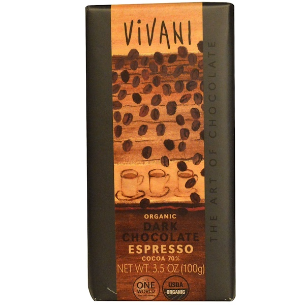 Vivani, Organic Dark Chocolate, Espresso, 3.5 oz (100 g) (Discontinued Item)