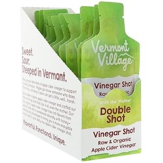 Vermont Village, Organic, Apple Cider Vinegar Shot, Double Shot, 12 Pouches, 1 oz (28 g) Each