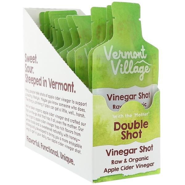 Vermont Village, Bio, vinaigre de cidre de pommes, double shot, 12 poches, 28 g (1 oz) chacune