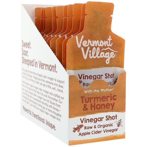 Vermont Village, Organic, Apple Cider Vinegar Shot, Turmeric & Honey, 12 Pouches, 1 oz (28 g) Each