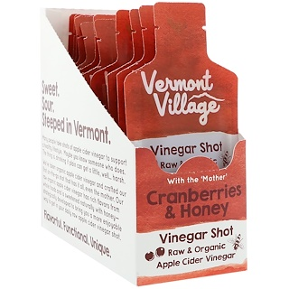 Vermont Village, Organic, Apple Cider Vinegar Shot, Cranberries & Honey, 12 Pouches, (1.0 oz) Each