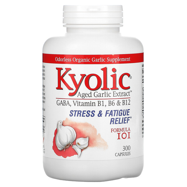 Kyolic, Aged Garlic Extract, Stress & Fatigue Relief, Formula 101, 300 Capsules