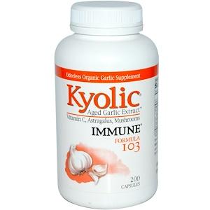Wakunaga — Kyolic, Выдержанный экстракт чеснока, иммунитет, формула 103, 200 капсул инструкция, применение, состав, противопоказания