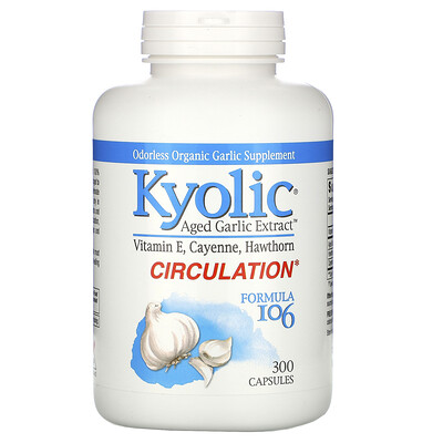 Kyolic Экстракт Выдержанного Чеснока без запаха, Формула 106, 300 капсул  - Купить