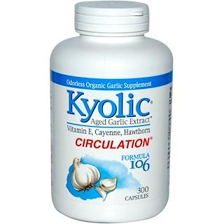 Kyolic, مستخلص الثوم المعتق، بدون رائحة، تركيبة 106، 300 كبسولة